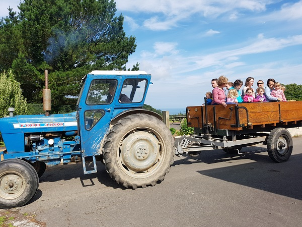 Enjoy a tractor ride at Lower Campscott Farm Holidays.