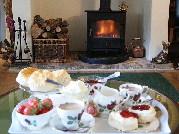 Enjoy a cream tea in front of the fire at West Down Guest House.