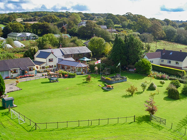 Arial view of West Down Guest House in North Devon.